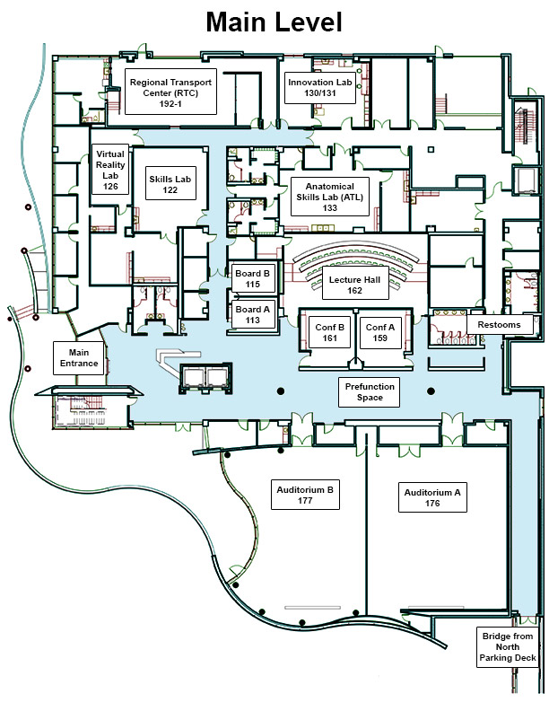 Map of the first floor of Jump Trading Simulation & Education Center