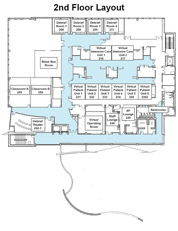 Map of the second floor of Jump Trading Simulation & Education Center